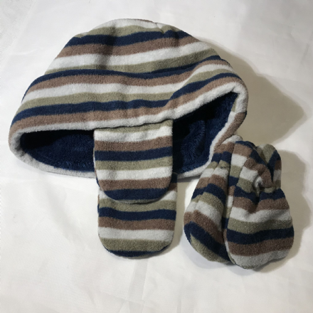 Stripes Hat and Mitts 0-3 Months